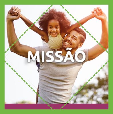 """Pai e filha se divertindo no fundo da palavra """"missão"""""""
