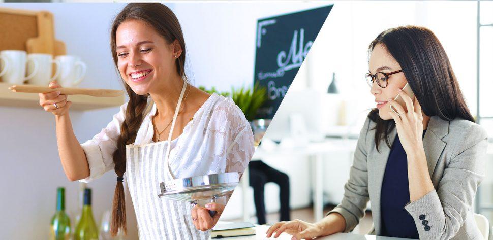 Mulher cozinhando ao lado de outro mulher com roupa formal trabalhando e falando ao celular