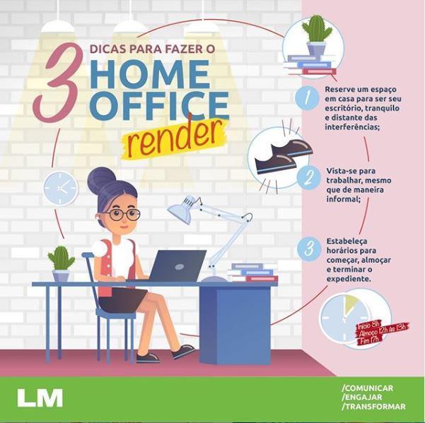 Infográfico com dicas para fazer home office render