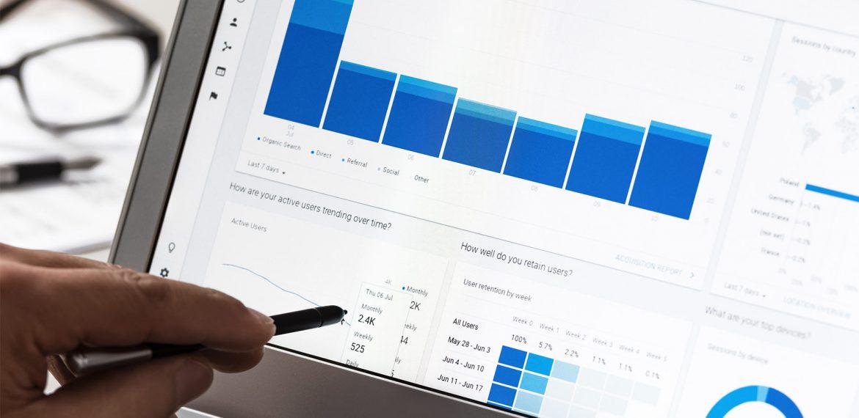 Gráfico com dados de site do Google Analytics