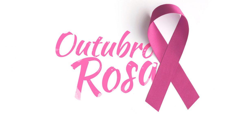 Laço rosa e chamada para campanha Outubro Rosa