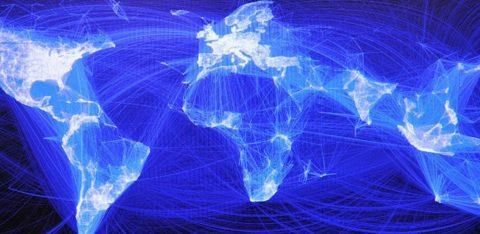Mapa mundi com rede de conexões