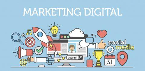 Infográfico com vários desenhos que representam características do marketing digital