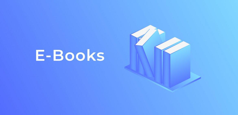 Livros em fundo azul representando eBooks