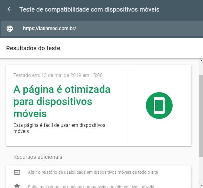 Ferramenta de teste mobile friendly