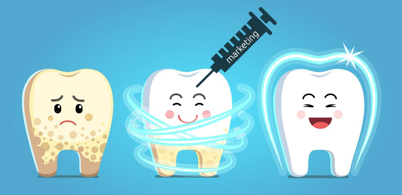 Desenho da evolução de um dente para representar o marketing odontológico