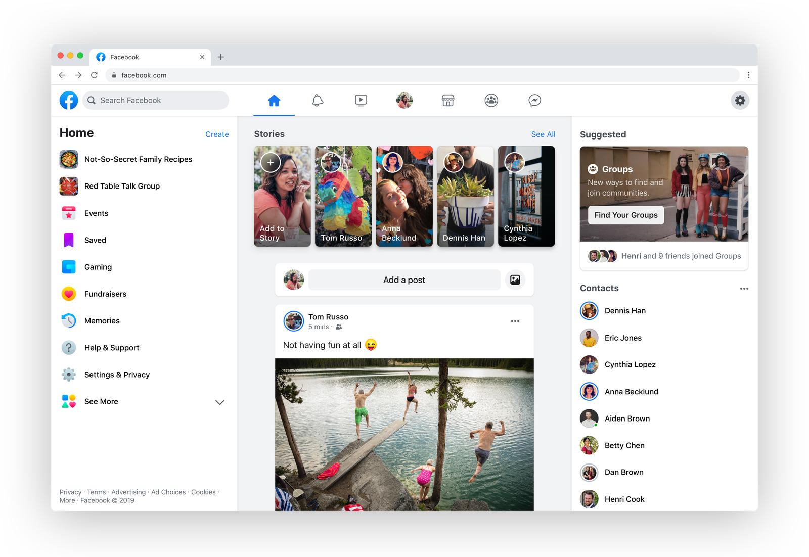 Novo layout para Facebook