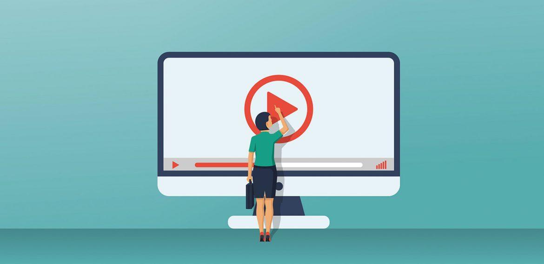 Ilustração de mulher dando play no video